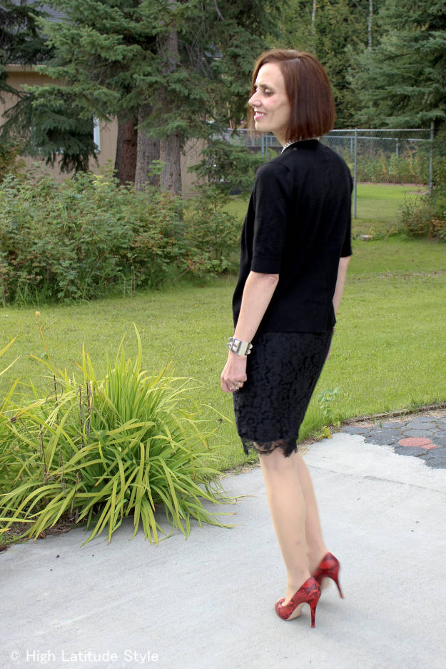 fashionover50 woman in black separates