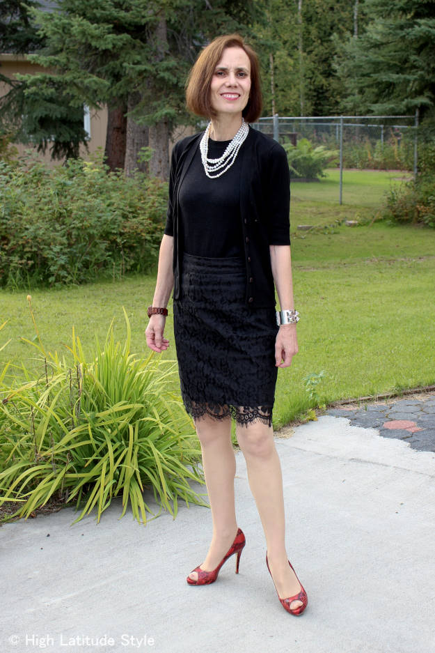 fashion over 40 woman in lace skirt and knit top