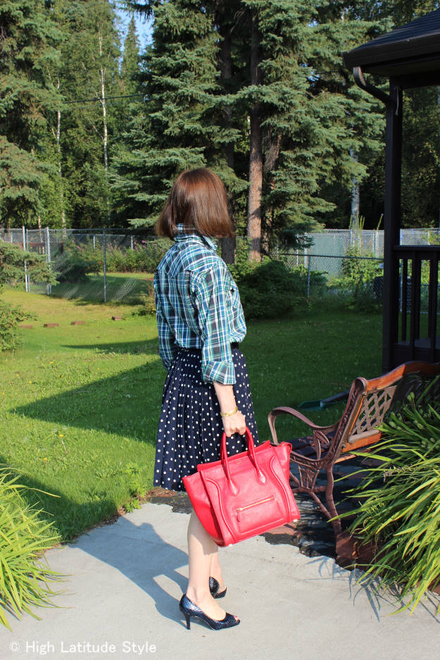#fashionover40 #fashionover50 Best outfits of summer 2015: example polka dots with plaid @ High Latitude Style @ http://www.highlatitudestyle.com