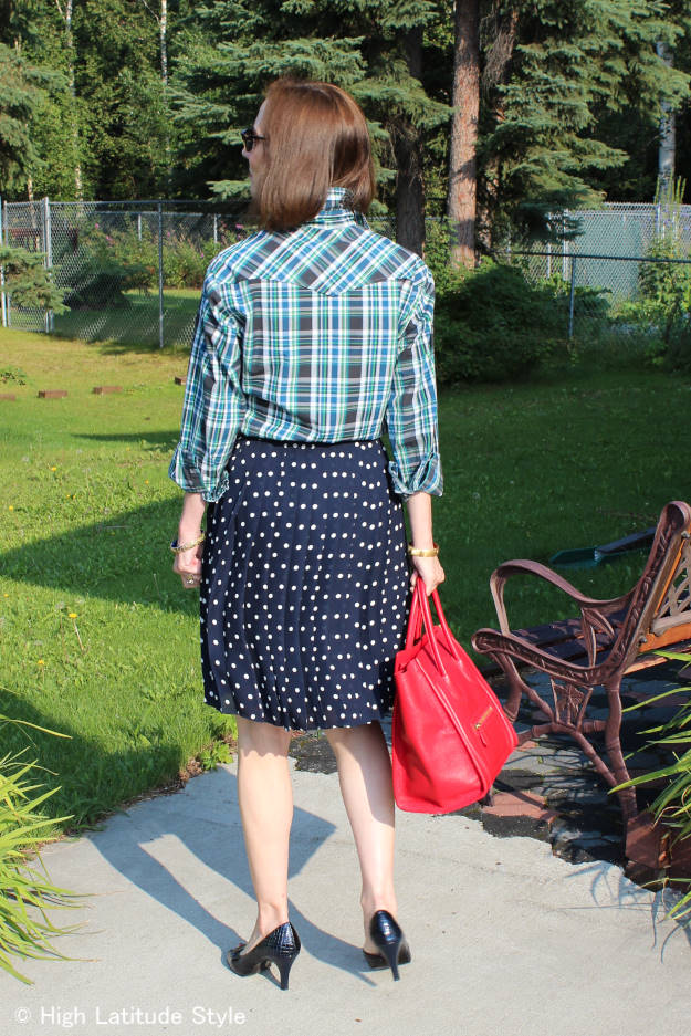 #fashionover40 #fashionover50 Best outfits of summer 2015: example mixing plaid and polka dots @ High Latitude Style @ http://www.highlatitudestyle.com