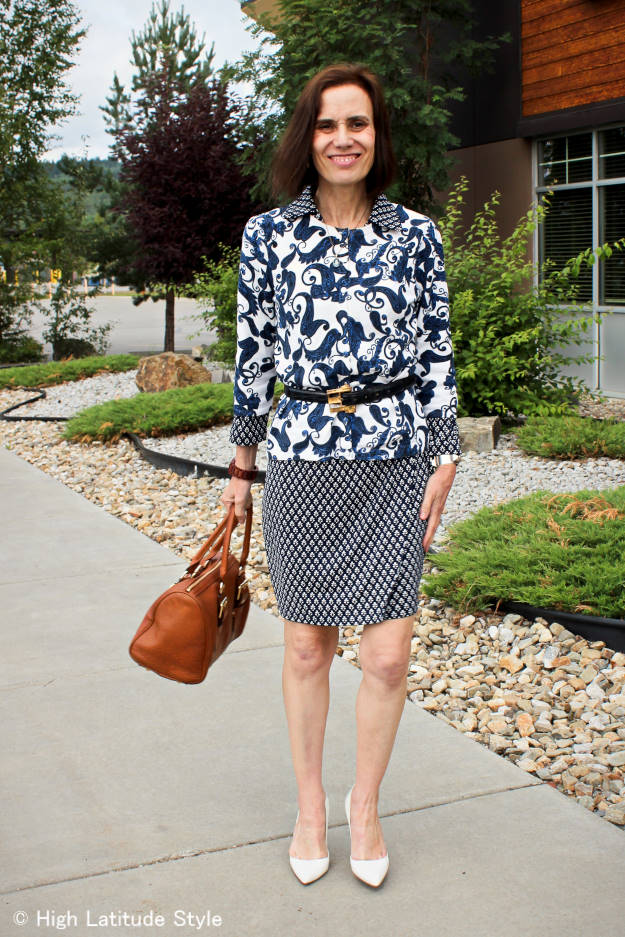 #fashionover40 #fashionover50 mixed pattern for work | High Latitude Style | http://www.highlatitudestyle.com