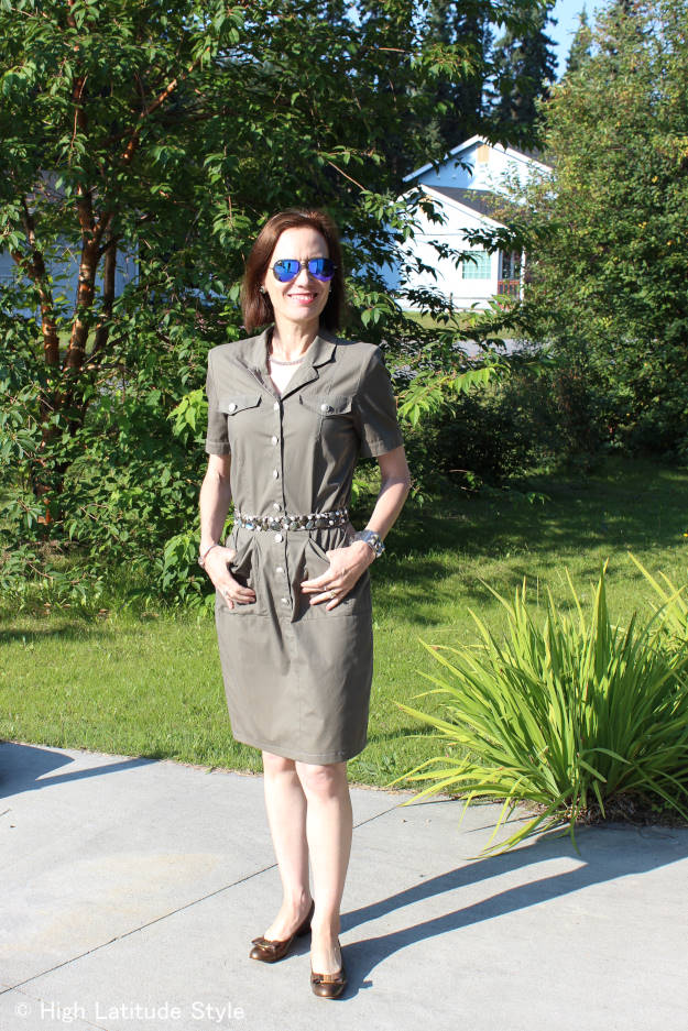 #fashionover40 #fashionover50 Top of the World Style linkup party every Thursday, example of fall military trend shirt dress @ High Latitude Style @ http://www.highlatitudestyle.com