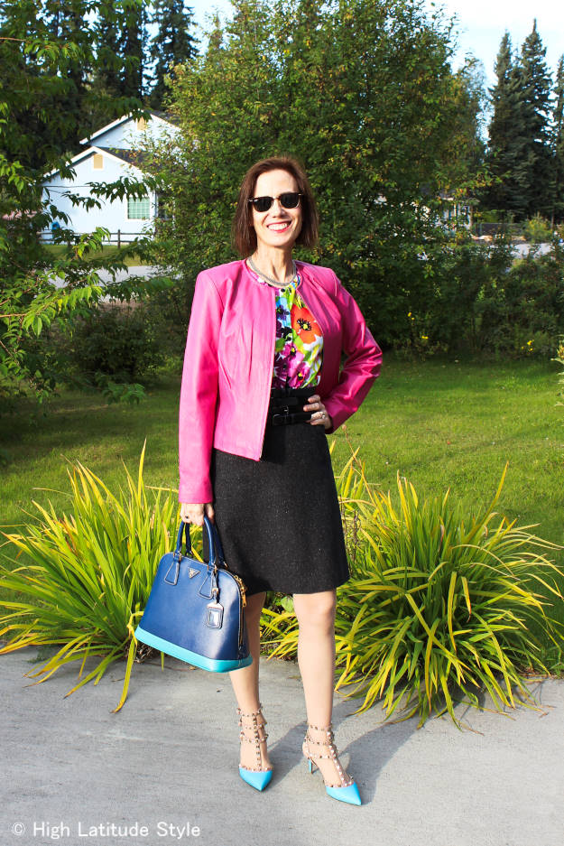 #over40fashion mature woman in colorful fall office look