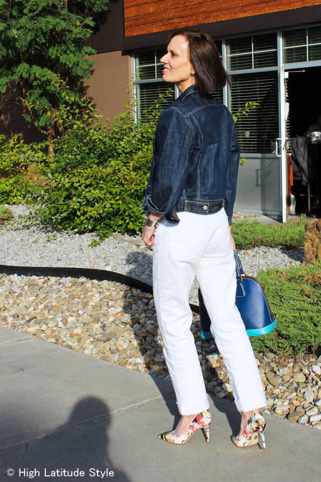 fashionover40 woman wearing denim-on-denim