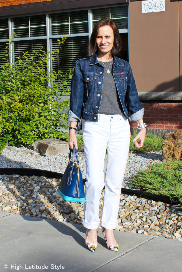 #40plusfashion Ageless Style: issue denim - example white denim boyfriend jeans with denim jacket @ High Latitude Style @ http://www.highlatitudestyle.com