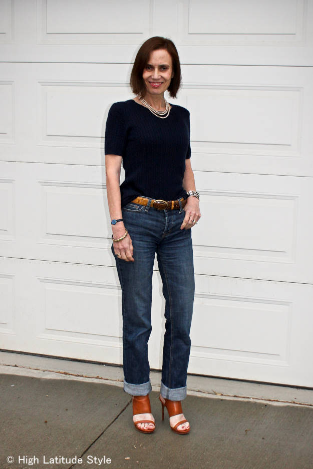 #fashionover40 mature woman wearing summer items with fall wardrobe items