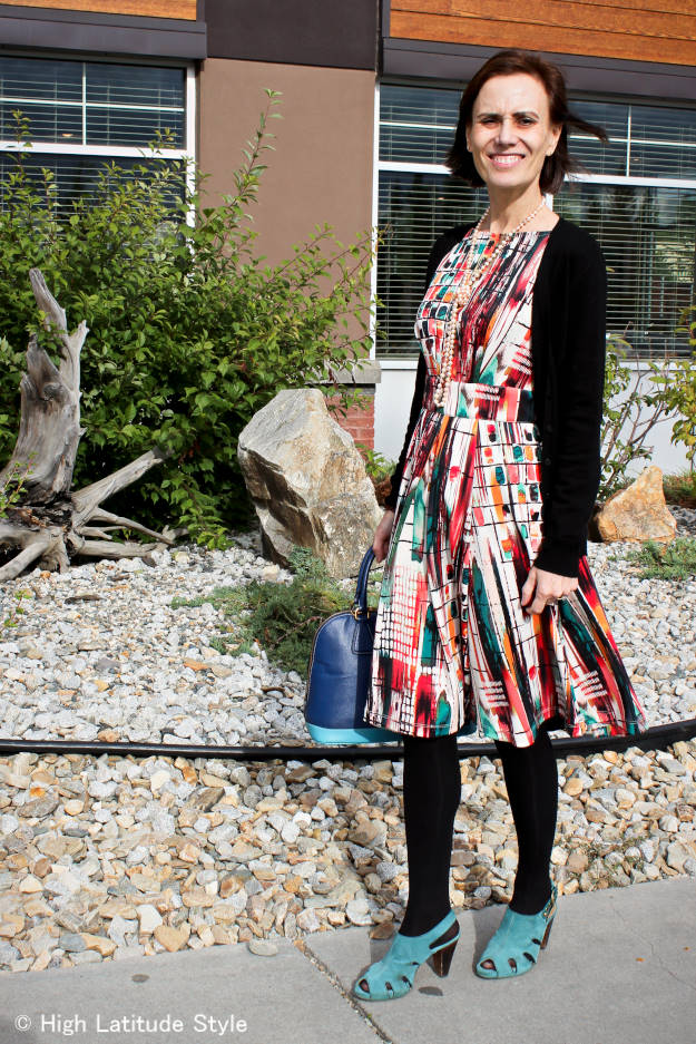 #fashionover40 #fashionover50 printed summer dress for fall at the Top of the World Style fashion linkup party that goes up every Thursday @ High Latitude Style @ http://www.highlatitudestyle.com