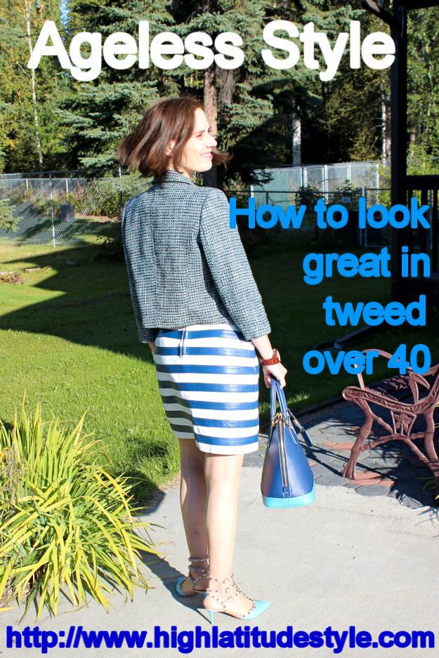 fashion over 40 woman in 3/4 sleeves tweed jacket