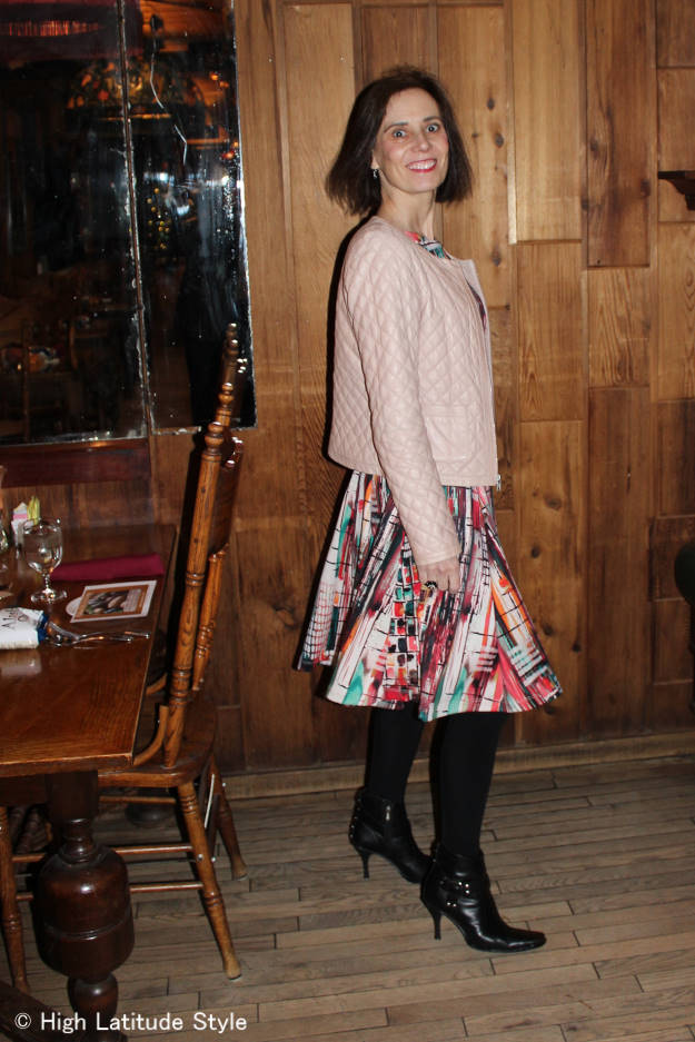 printed fit-and-flare dress transitioned to fall