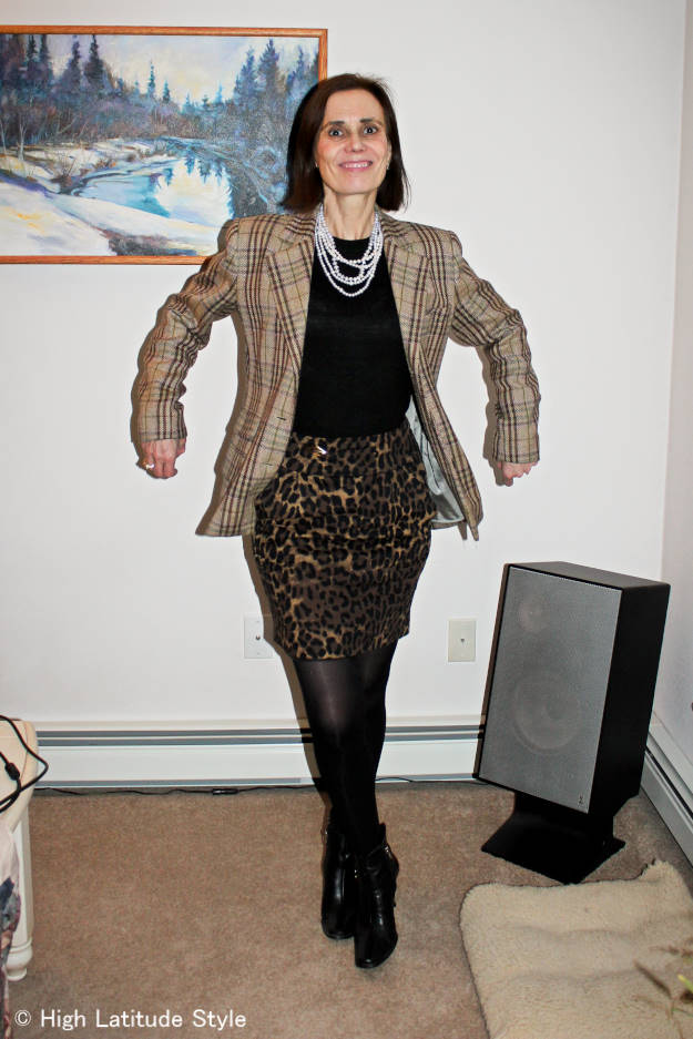 #fashionover40 #fashionover50 Example of outfit in fall's mixing prints and patterns trendat the Top of the World Style weekly fashion linkup party at High Latitude Style @ http://www.highlatitudestyle.com