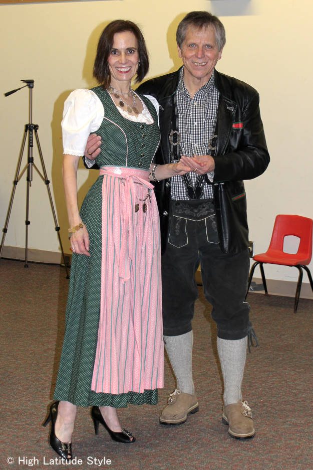 fashion over 50 couple in Alpine tracht at Fairbanks International Friendship Day