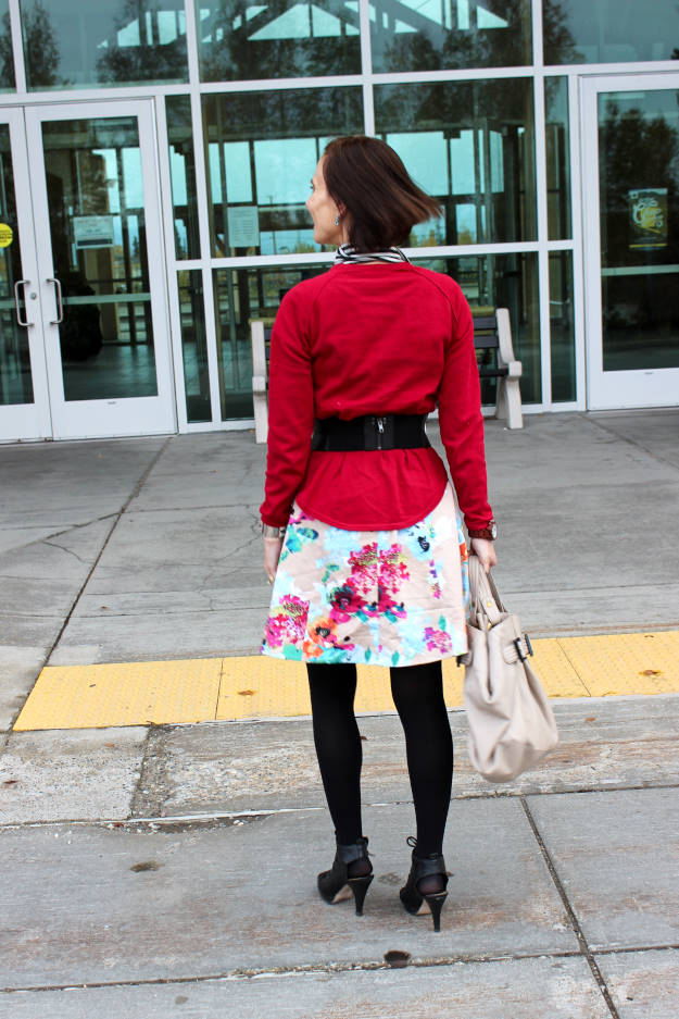 #styleover50 back view of OOTD at the weekly Top of the World Style fashion linkup party