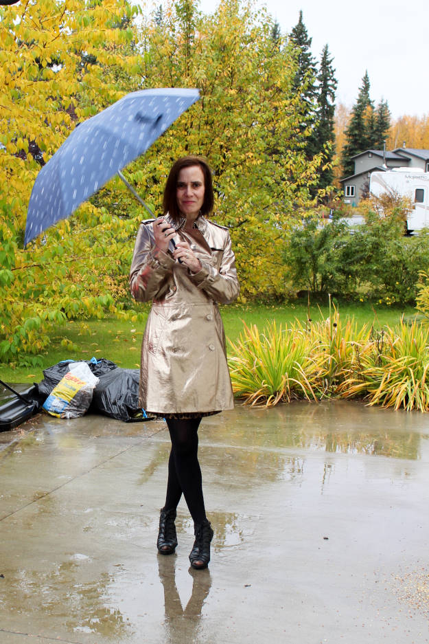 fashion over 40 woman in an outfit for a rainy day
