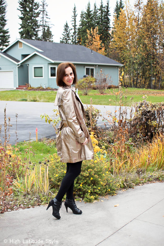 #styleover50 OOTD with golden trench coat at weekly Top of the World Style #linkup party on Thursdays @ High Latitude Style @ http://www.highlatitudestyle.com