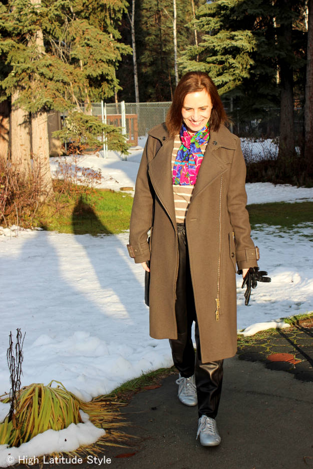 fashion over 50 woman in winter outerwear