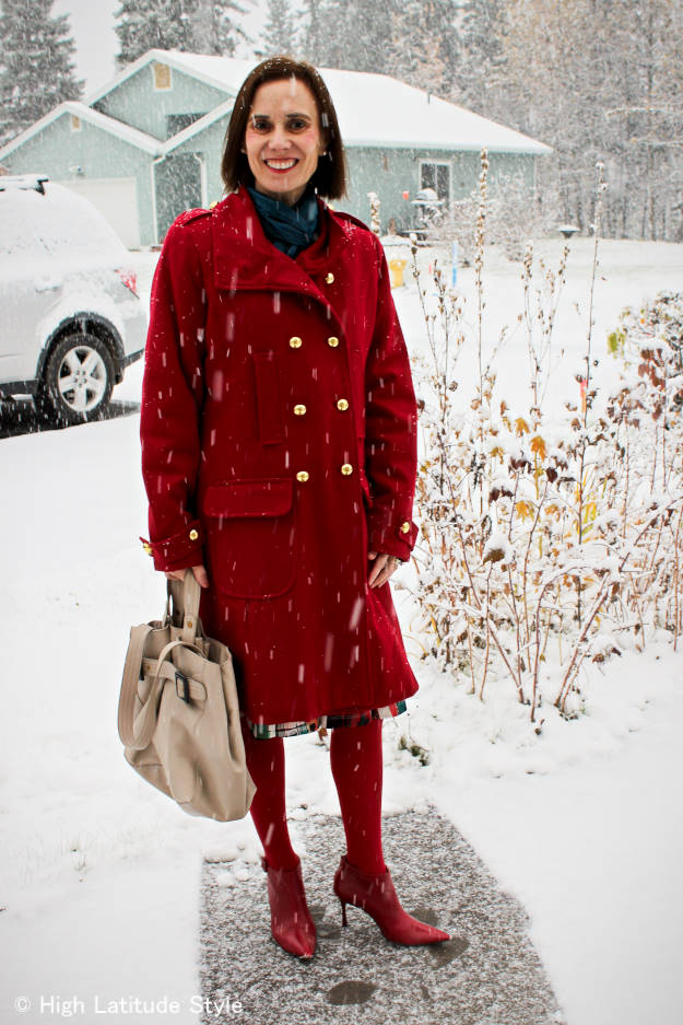 #fashionover40 #fashionover50 Best looks of October: example red winter outerwear @ High Latitude Style @http://www.highlatitudestyle.com