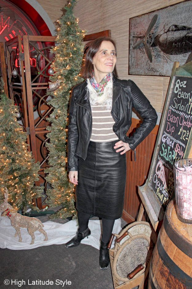 #fashionover40 woman in a fake suit in leather