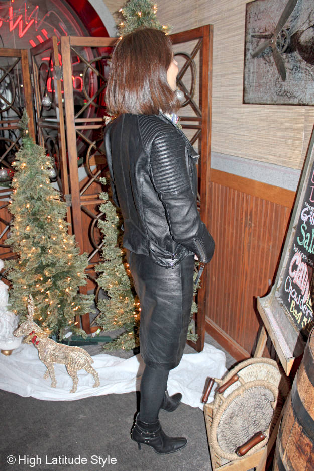 #fashionover40 woman in a fake leather skirt suit
