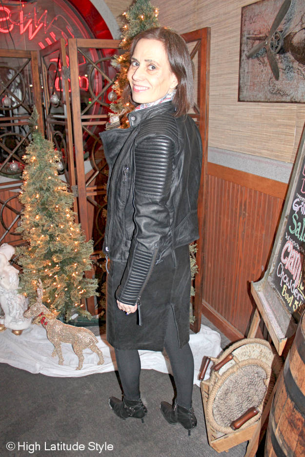 #fashionover50 How to wear leather on leather and look effortlessly chic @ High Latitude Style @ woman in pencil leather skit and leather motorcycle jacket