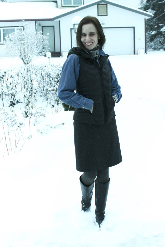style over 40 woman in down vest