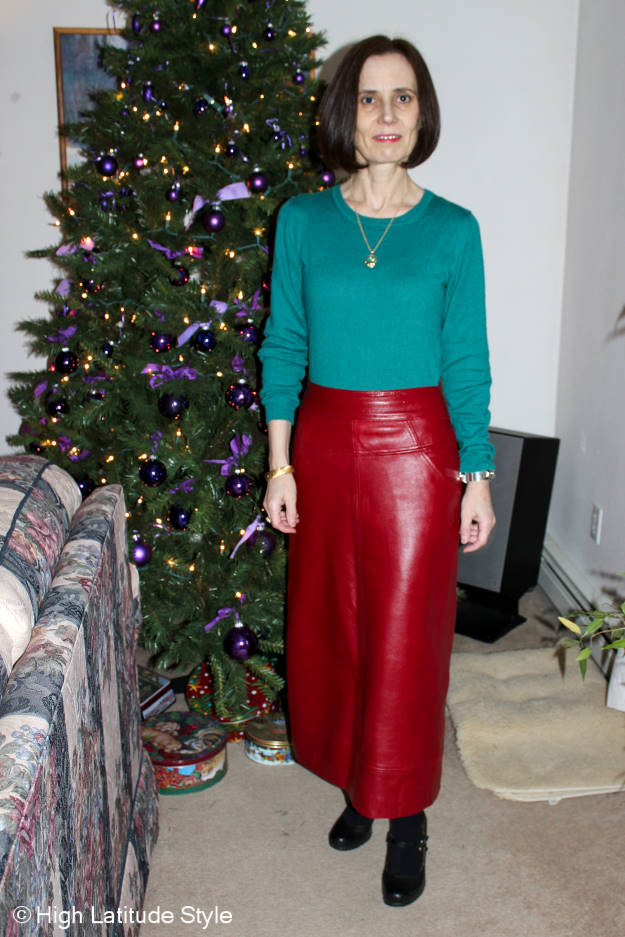 midlife woman in Christmas outfit