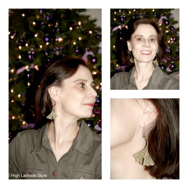 Green Tree Jewelry wooden leaf-style earring