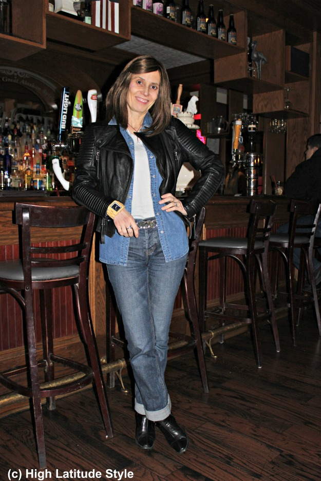 #fashionover50 posh casual in denim-on-denim with leather