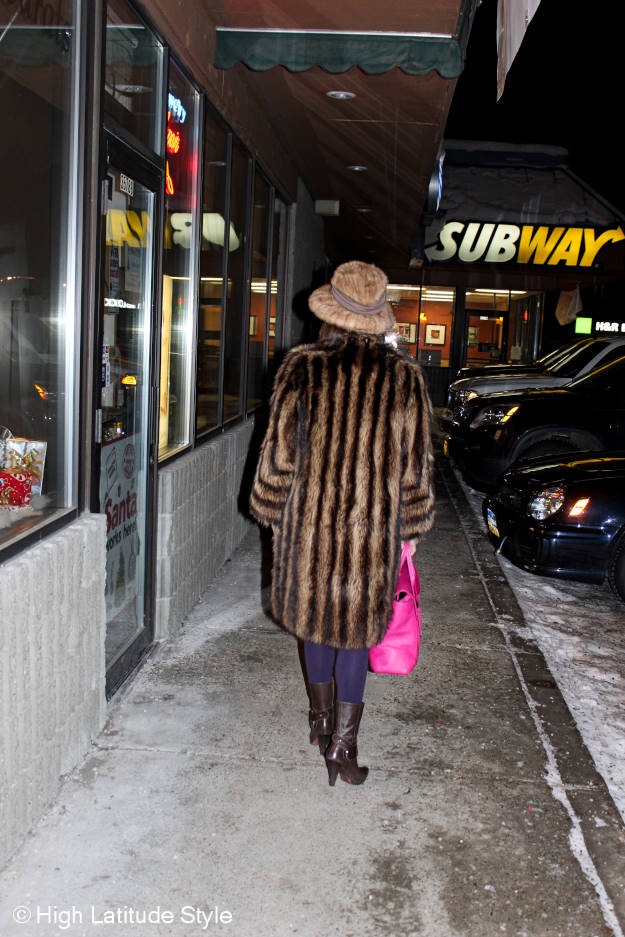 #matureFashion mature woman walking in a mall in Alaska in winter at http://www.highlatitudestyle.com
