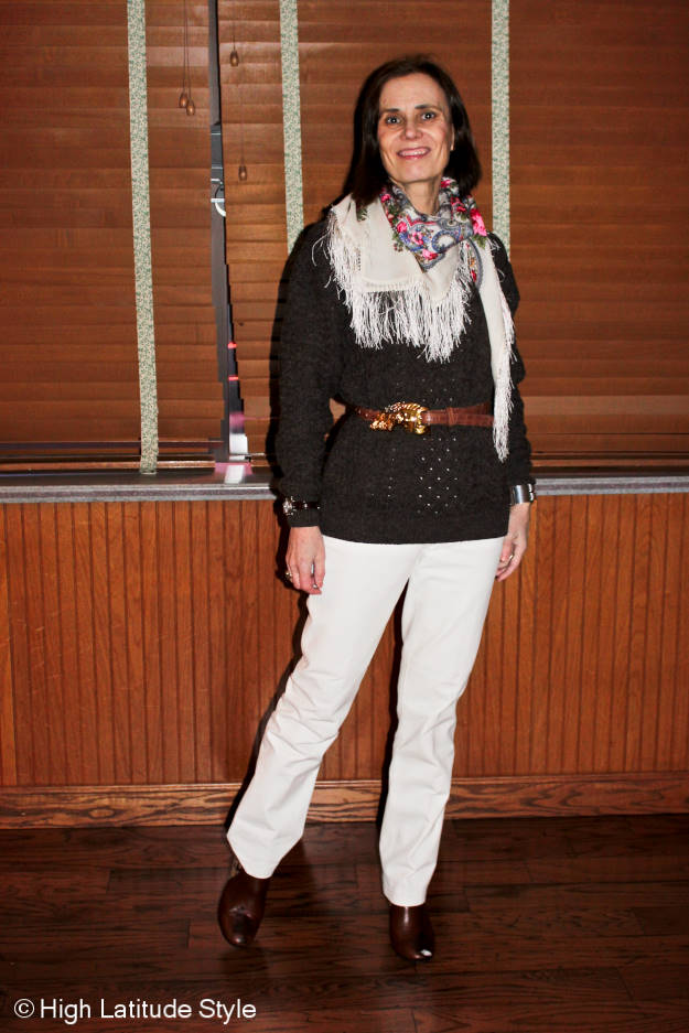 #fashionover50 Casual look with Russian scarf at the weekly Top of the World Style linkup party @ High Latitude Style