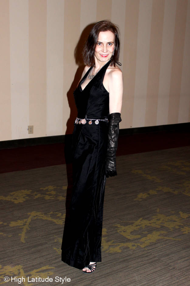 #maturefashion mature woman wearing opera gloves and a black velvet ball gown