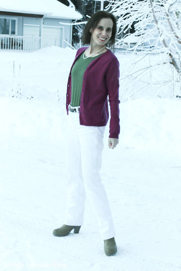 #ONNOreview moosgreen T-shirt styled with cardigan and white leather pants #review at High Latitude Style