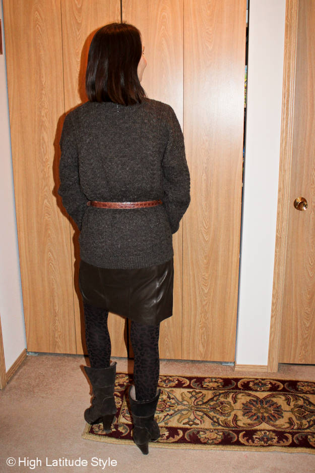 fashion over 50 back view of a winter work outfit