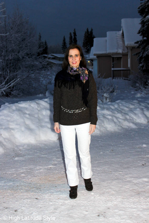 trends over 40 oversize cable-knit sweater with white denim BF