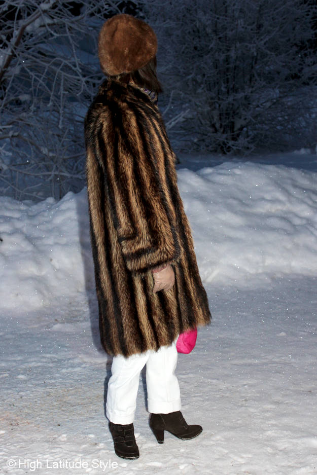 posh chic midlife woman in winter outerwear
