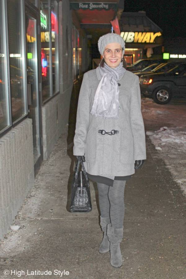 #Fashionover40 all gray winter outer wear at the Top of the World Style linkup party @ http://www.highlatitudestyle.com