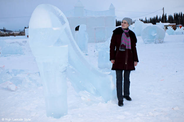 #fashionover50 ice pumps, more ice sculptures at http://www.highlatitudestyle.com