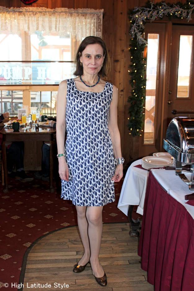 fashion over 40 printed shift dress