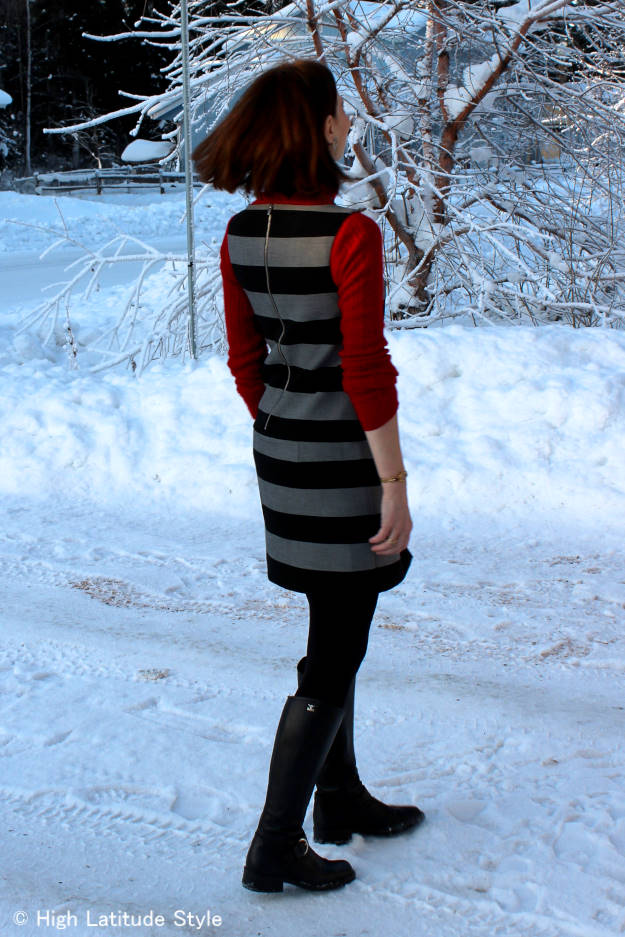 fashionover50 office outfit with striped dress