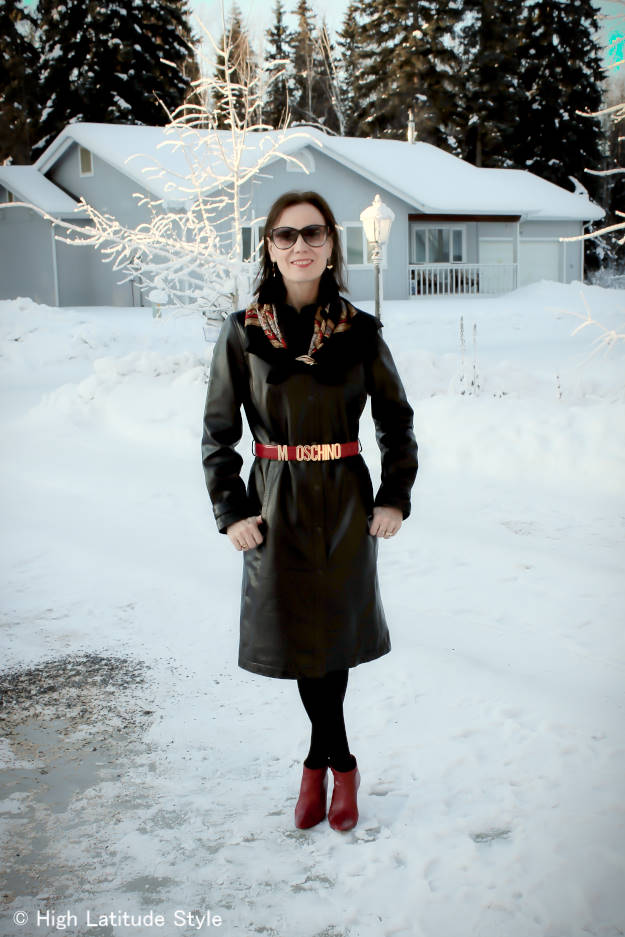 #fashionover40 leather shirt dress @ High Latitude Style