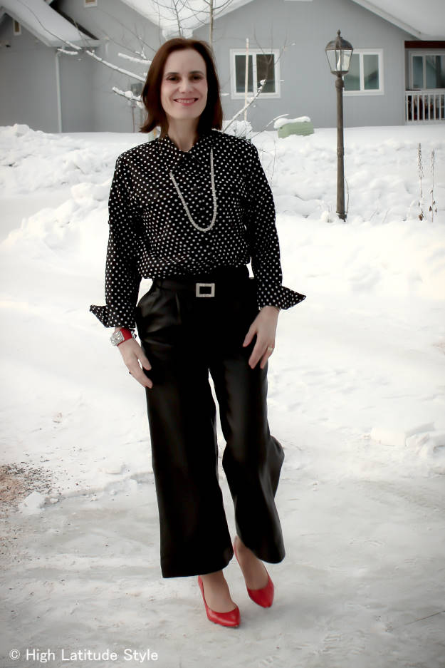 #fashionover40 work outfit with leather culottes @ High Latitude Style