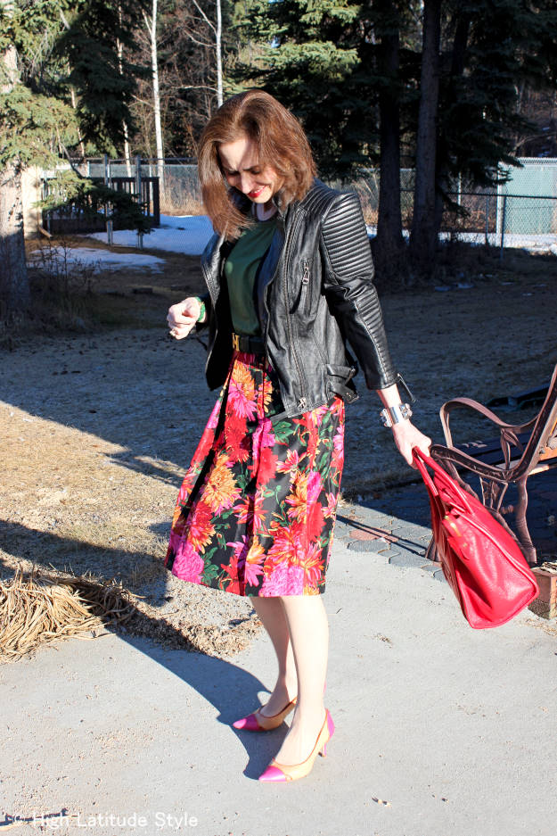 fashion over 50 Work outfit substituting a leather jacket for a blazer