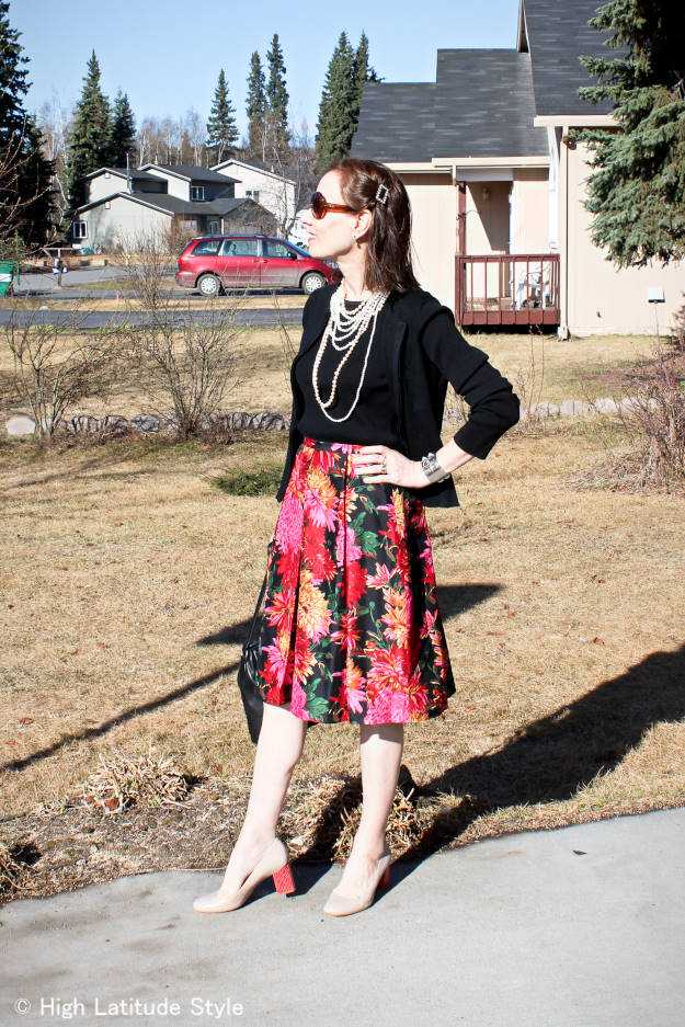 fashionover50 work outfit with multiple pearl necklaces