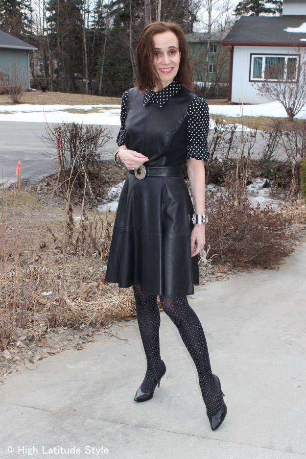 #fashionover40 mixing pin and polka dots #Nononsense review @ High Latitude Style