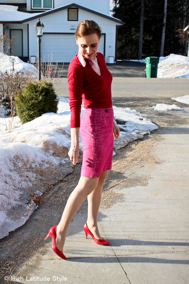 fashionover50 red and pink spring outfit