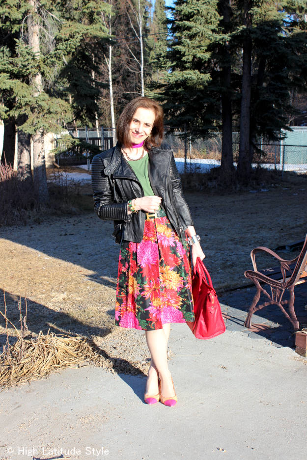 fashion over 40 floral pleated skirt with motorcycle jacket