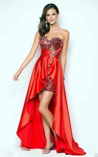 #AisleStyle strapless Sweetheart Sparkle Beaded High Low Orange Red Satin Prom Dress