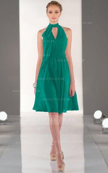 #AisleStyle Natural Chiffon A-line Knee-length None Bridesmaid Dresses