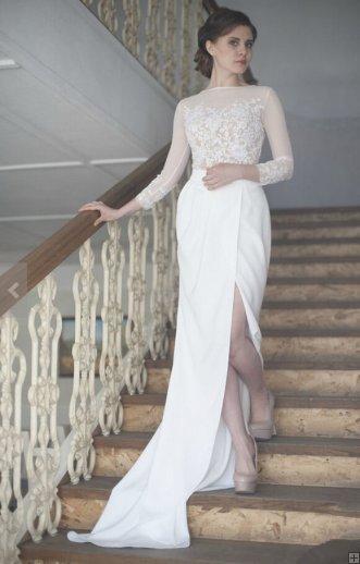 #AisleStyle Long Sleeves Split Jewel Neck Long Chiffon Wedding Dress