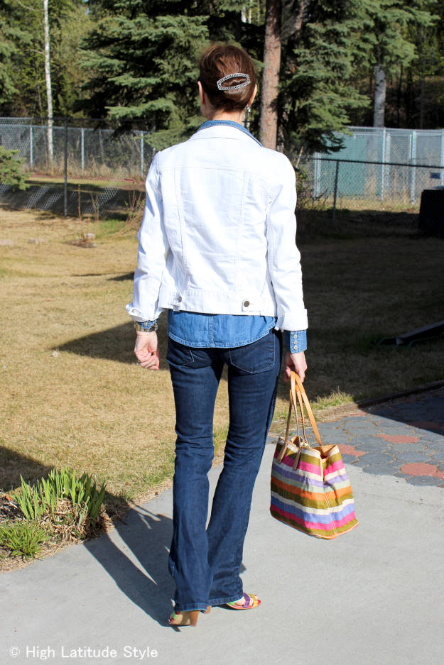 #fashionover40 triple denim outfit - packing for travel in Alaska @ http://wp.me/p3FTnC-4Mh