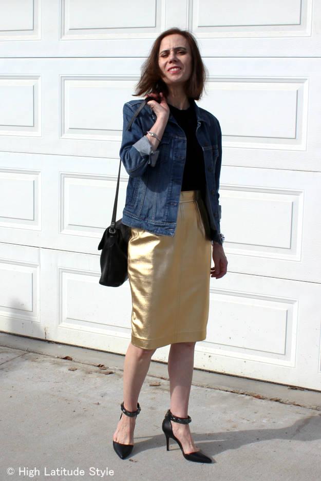 #fashionover50 denim jacket with leather skirt at http://www.highlatitudestyle.com